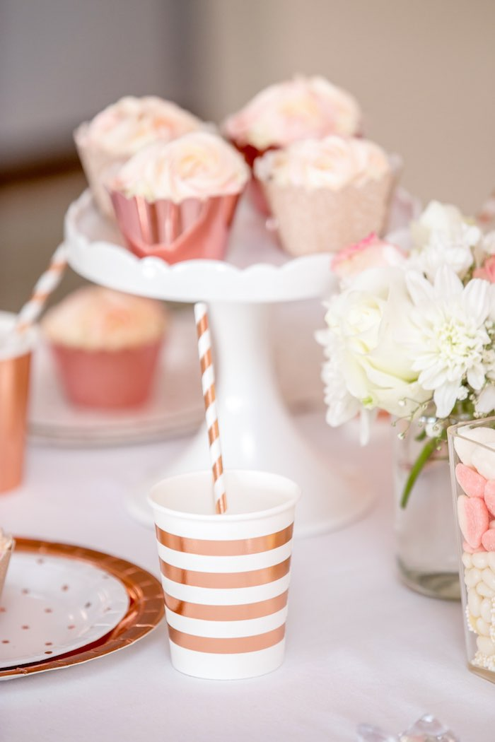 """Gold + White Striped Cup & Straw from a Boho Princess """"You're a Gem"""" Birthday Party on Kara's Party Ideas 