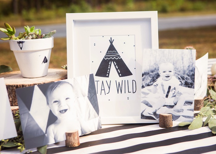 Monochromatic Wild One Table + Decor from a Boho Tribal Wild One 1st Birthday Party on Kara's Party Ideas | KarasPartyIdeas.com (25)