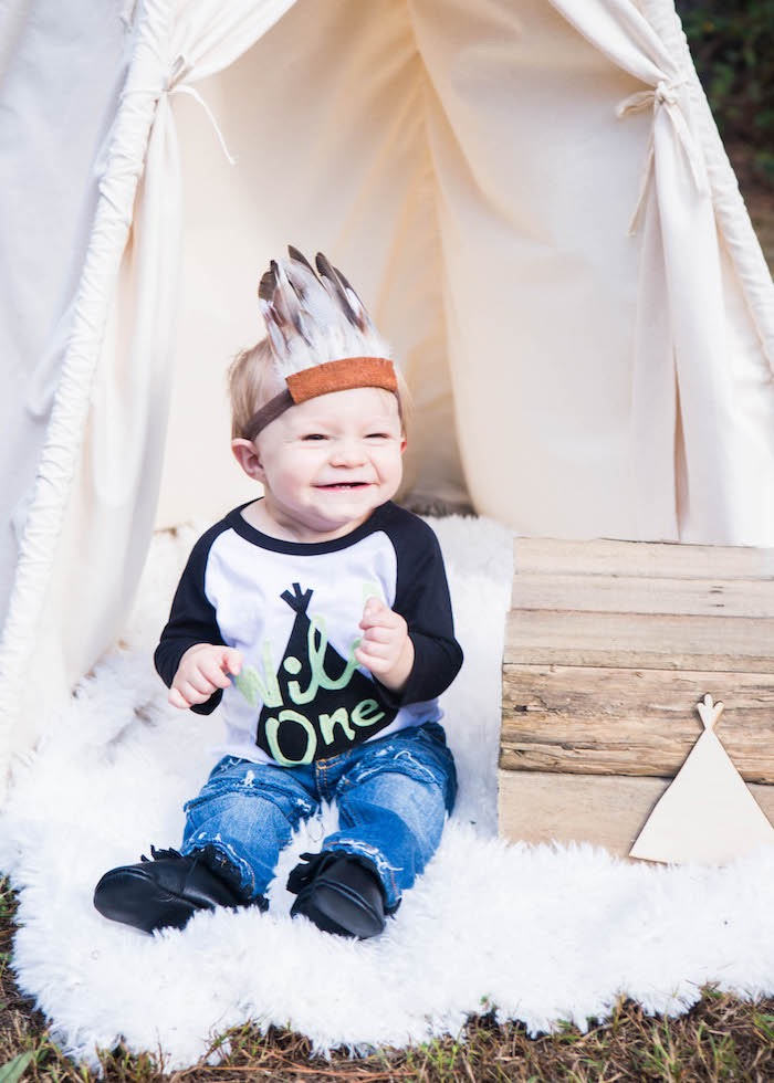 Boho Teepee Cake Smash Lounge from a Boho Tribal Wild One 1st Birthday Party on Kara's Party Ideas | KarasPartyIdeas.com (21)