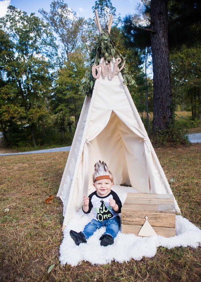 Boho Teepee Cake Smash Lounge from a Boho Tribal Wild One 1st Birthday Party on Kara's Party Ideas | KarasPartyIdeas.com (20)