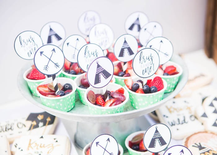 Boho Fruit Cups from a Boho Tribal Wild One 1st Birthday Party on Kara's Party Ideas | KarasPartyIdeas.com (18)
