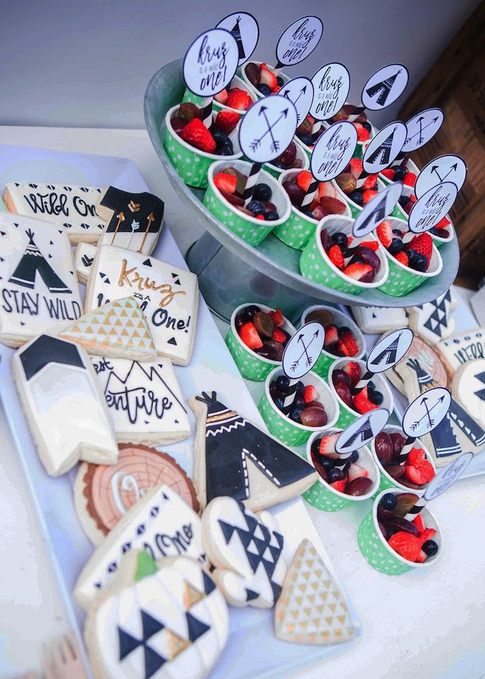 Boho Cookies + Fruit Cups from a Boho Tribal Wild One 1st Birthday Party on Kara's Party Ideas | KarasPartyIdeas.com (16)