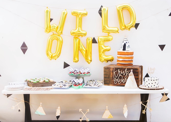 Wild One Dessert Table from a Boho Tribal Wild One 1st Birthday Party on Kara's Party Ideas | KarasPartyIdeas.com (15)