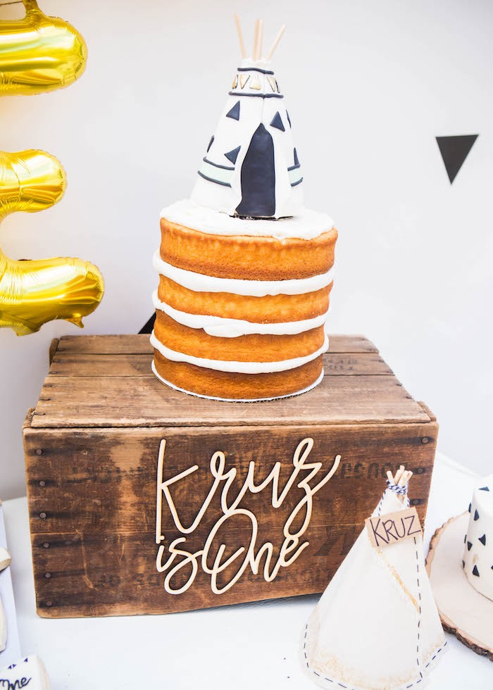 Boho Naked Cake from a Boho Tribal Wild One 1st Birthday Party on Kara's Party Ideas | KarasPartyIdeas.com (13)