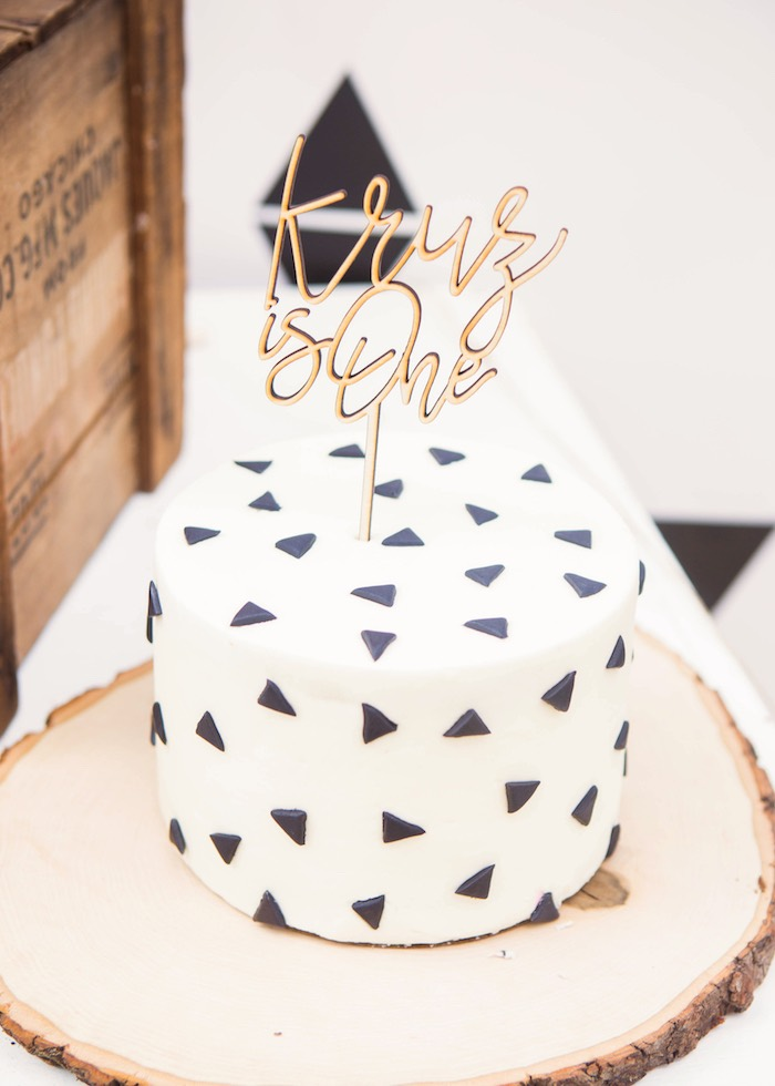 Monochromatic Triangle Cake from a Boho Tribal Wild One 1st Birthday Party on Kara's Party Ideas | KarasPartyIdeas.com (12)