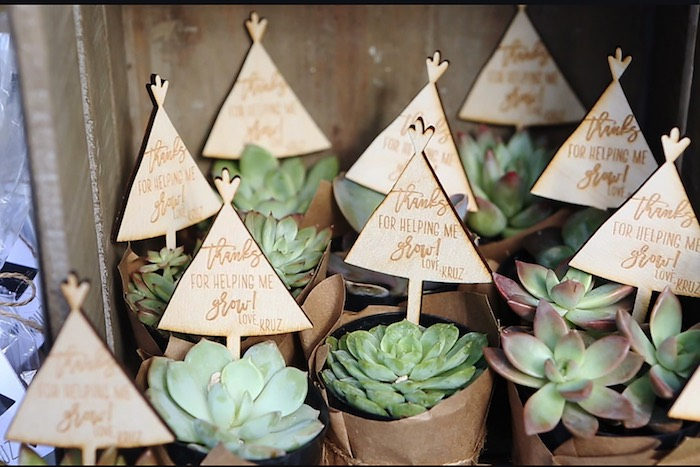 Wooden Teepee Favor Toppers from a Boho Tribal Wild One 1st Birthday Party on Kara's Party Ideas | KarasPartyIdeas.com (7)