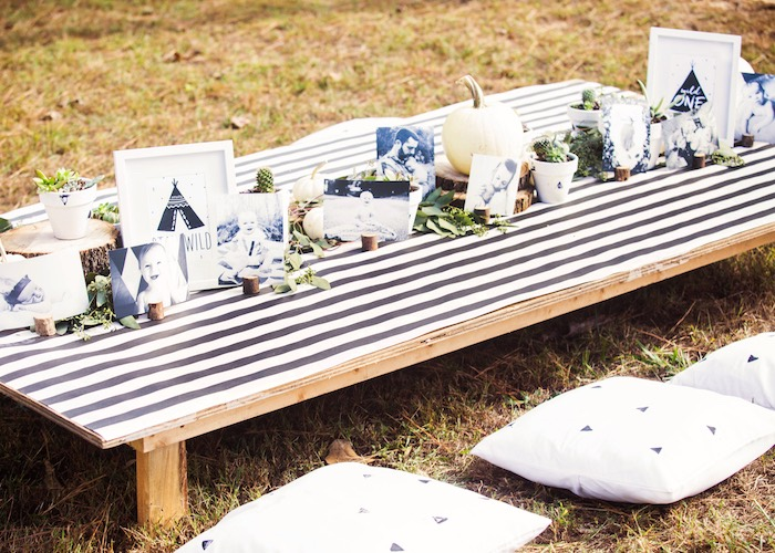 Monochromatic Boho Party Table from a Boho Tribal Wild One 1st Birthday Party on Kara's Party Ideas | KarasPartyIdeas.com (31)