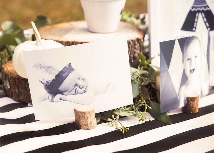 Black & White Boho Table from a Boho Tribal Wild One 1st Birthday Party on Kara's Party Ideas | KarasPartyIdeas.com (26)