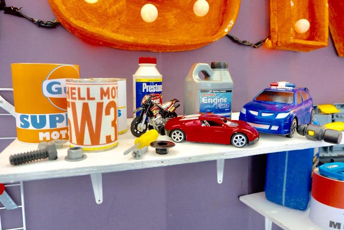 Supply Decor Shelf from a Car Garage Birthday Party on Kara's Party Ideas | KarasPartyIdeas.com (9)