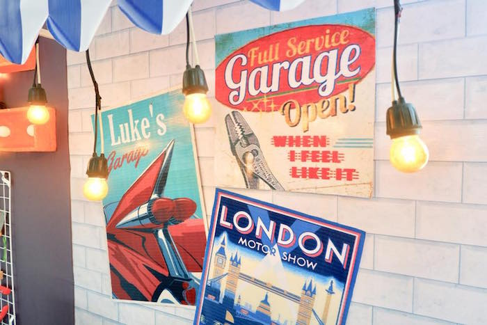 Edison Bulb + Vintage Flyer Backdrop from a Car Garage Birthday Party on Kara's Party Ideas | KarasPartyIdeas.com (8)