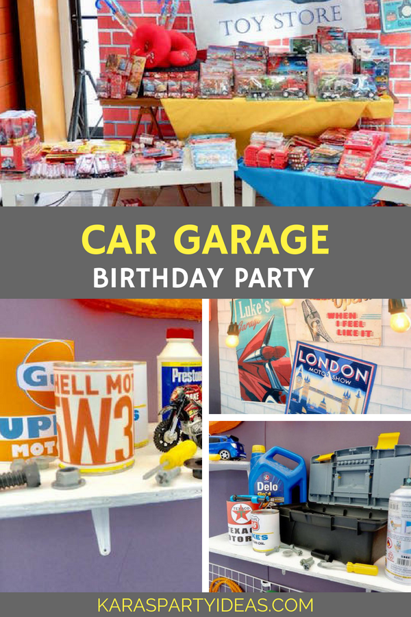 Car Garage Birthday Party via Kara's Party Ideas - KarasPartyIdeas.com
