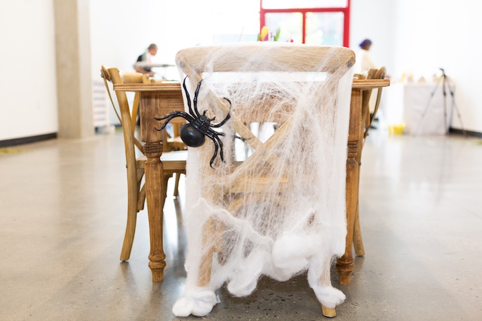 Spider Webbed Guest Table Chair from a Charlotte's Web Birthday Party on Kara's Party Ideas | KarasPartyIdeas.com (27)