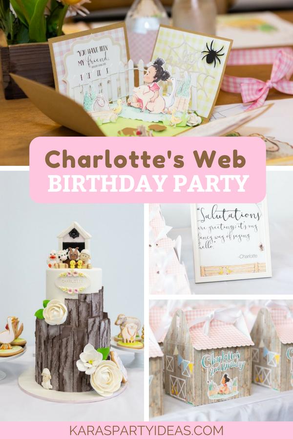 Charlotte's Web Birthday Party via Kara's Party Ideas - KarasPartyIdeas.com