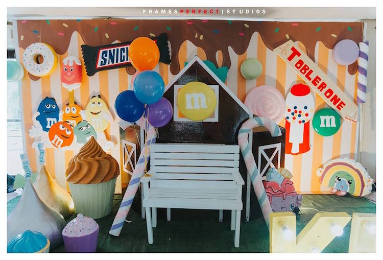 Candy-inspired Backdrop from a Chocolate Candyland Birthday Party on Kara's Party Ideas | KarasPartyIdeas.com (11)