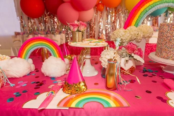 Rainbow Plate Table Setting from a Confetti Rainbow Birthday Party on Kara's Party Ideas | KarasPartyIdeas.com (15)