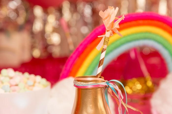 Drink Bottle Bunting from a Confetti Rainbow Birthday Party on Kara's Party Ideas | KarasPartyIdeas.com (13)