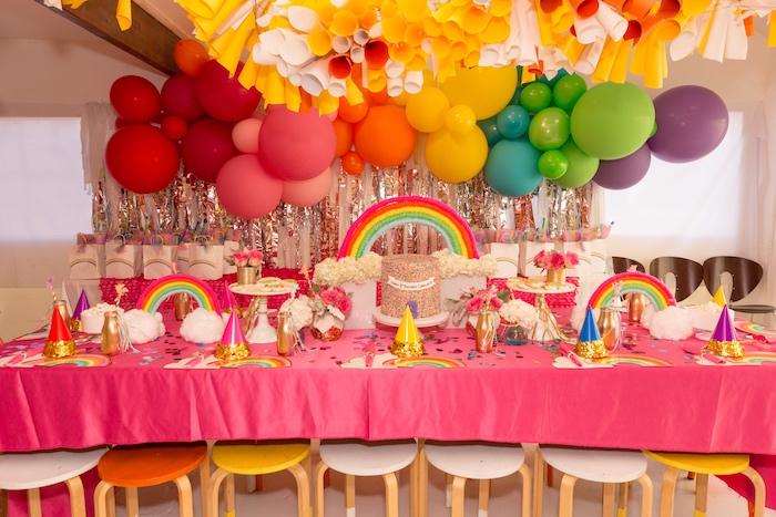 Rainbow Party Table from a Confetti Rainbow Birthday Party on Kara's Party Ideas | KarasPartyIdeas.com (12)