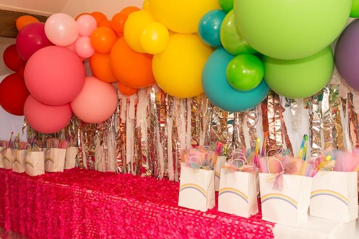 Rainbow Favor Table from a Confetti Rainbow Birthday Party on Kara's Party Ideas | KarasPartyIdeas.com (10)