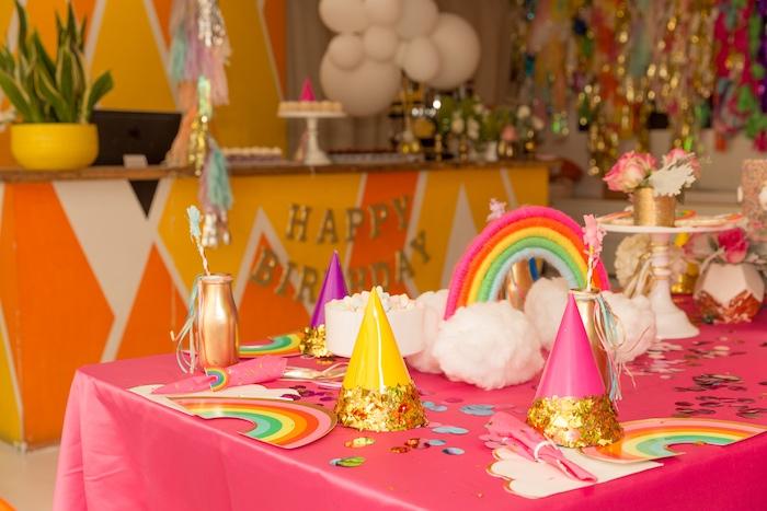 Rainbow Party Table from a Confetti Rainbow Birthday Party on Kara's Party Ideas | KarasPartyIdeas.com (9)