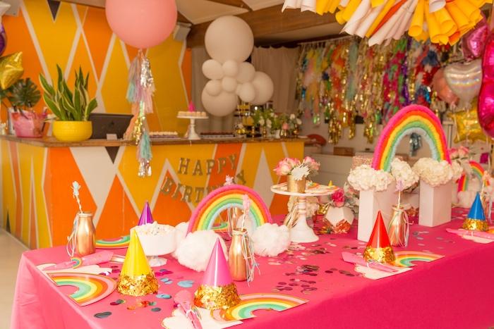 Rainbow Party Table from a Confetti Rainbow Birthday Party on Kara's Party Ideas | KarasPartyIdeas.com (8)