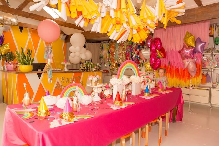 Girly Rainbow Party Table from a Confetti Rainbow Birthday Party on Kara's Party Ideas | KarasPartyIdeas.com (7)