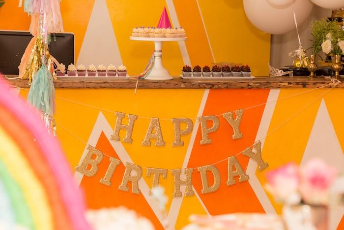 Dessert Table from a Confetti Rainbow Birthday Party on Kara's Party Ideas | KarasPartyIdeas.com (6)