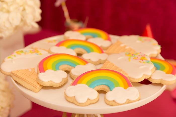 Rainbow Cookies from a Confetti Rainbow Birthday Party on Kara's Party Ideas | KarasPartyIdeas.com (24)