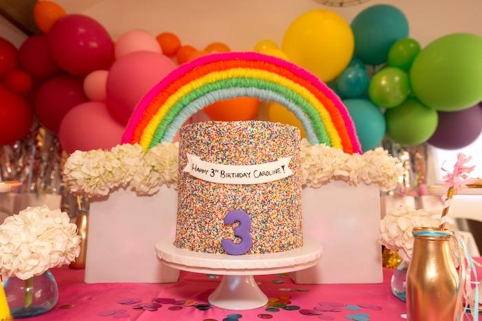 Rainbow Cakescape from a Confetti Rainbow Birthday Party on Kara's Party Ideas | KarasPartyIdeas.com (22)