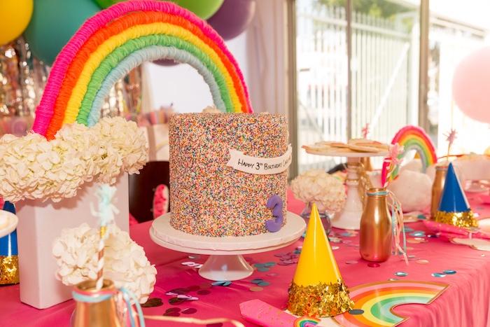 Rainbow Cake Table from a Confetti Rainbow Birthday Party on Kara's Party Ideas | KarasPartyIdeas.com (21)
