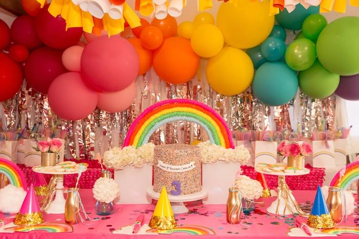 Girly Rainbow Party Table from a Confetti Rainbow Birthday Party on Kara's Party Ideas | KarasPartyIdeas.com (20)