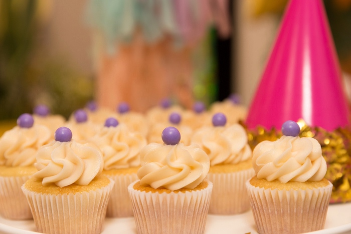 Gumball-topped Cupcakes from a Confetti Rainbow Birthday Party on Kara's Party Ideas | KarasPartyIdeas.com (18)