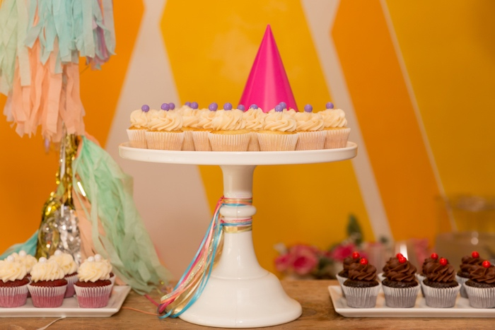 Cupcakes Pedestal from a Confetti Rainbow Birthday Party on Kara's Party Ideas | KarasPartyIdeas.com (17)