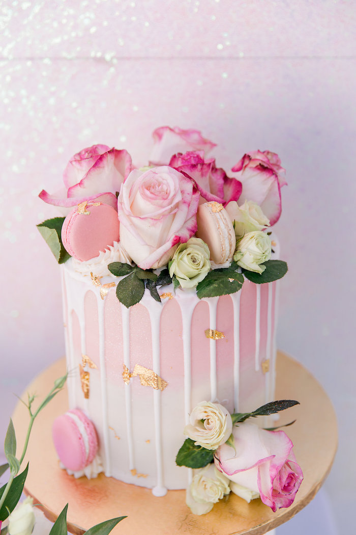Pink + White Ombre Drip Cake from a Donut Grow Up 1st Birthday Party on Kara's Party Ideas | KarasPartyIdeas.com (20)