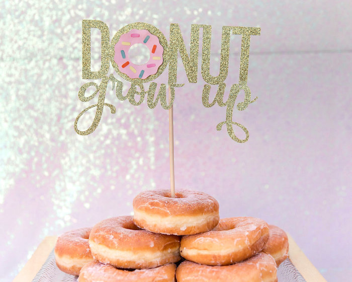 Glitter Donut Grow Up Cake Topper from a Donut Grow Up 1st Birthday Party on Kara's Party Ideas | KarasPartyIdeas.com (18)