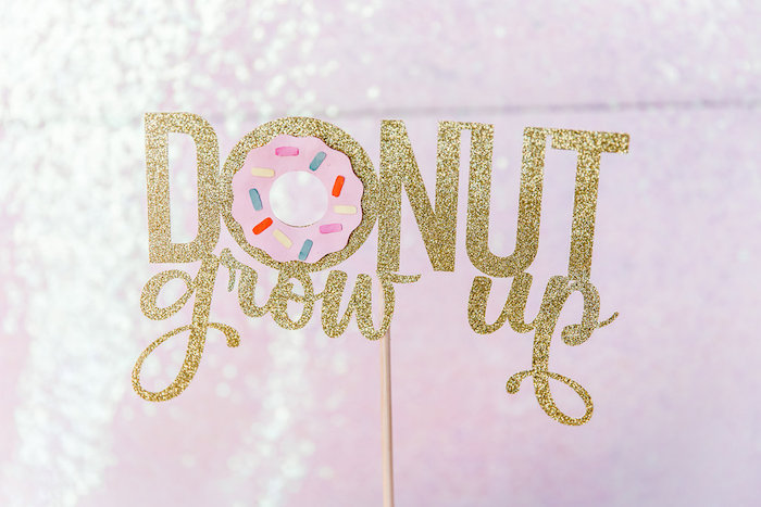 Glitter Donut Grow Up Cake Topper from a Donut Grow Up 1st Birthday Party on Kara's Party Ideas | KarasPartyIdeas.com (14)