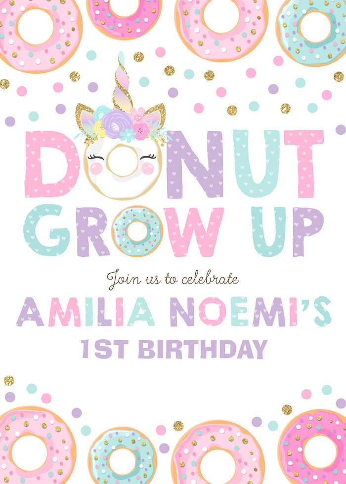 Unicorn Donut Party Invite from a Donut Grow Up 1st Birthday Party on Kara's Party Ideas | KarasPartyIdeas.com (29)