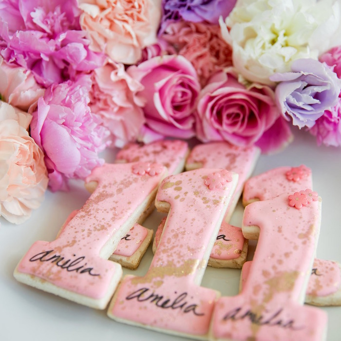 "Glam ""1"" Cookies from a Donut Grow Up 1st Birthday Party on Kara's Party Ideas 