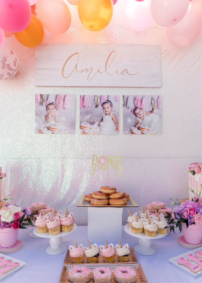 Donut Sweet Table from a Donut Grow Up 1st Birthday Party on Kara's Party Ideas | KarasPartyIdeas.com (27)