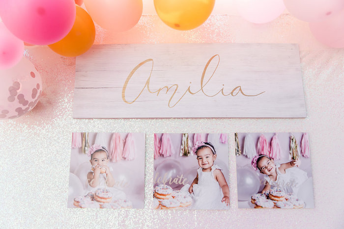 Wood Name Sign + Photo Collage from a Donut Grow Up 1st Birthday Party on Kara's Party Ideas | KarasPartyIdeas.com (26)