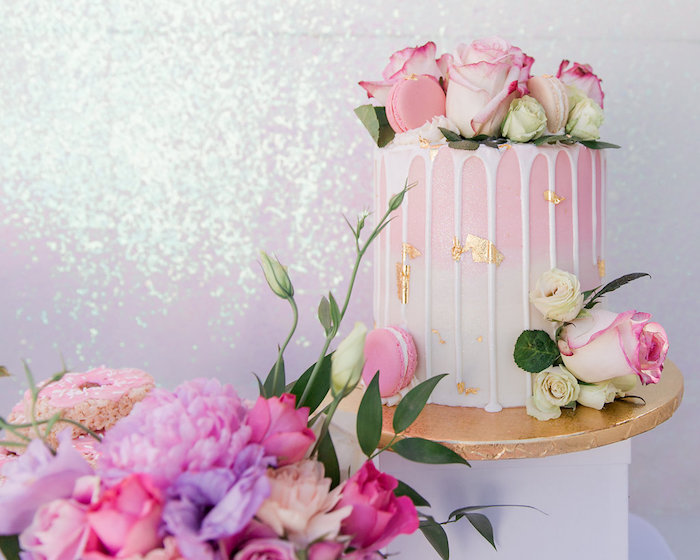 Pink + White Ombre Drip Cake from a Donut Grow Up 1st Birthday Party on Kara's Party Ideas | KarasPartyIdeas.com (22)