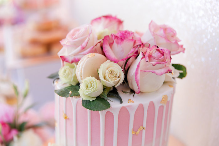 Rose-topped Drip Cake from a Donut Grow Up 1st Birthday Party on Kara's Party Ideas | KarasPartyIdeas.com (21)