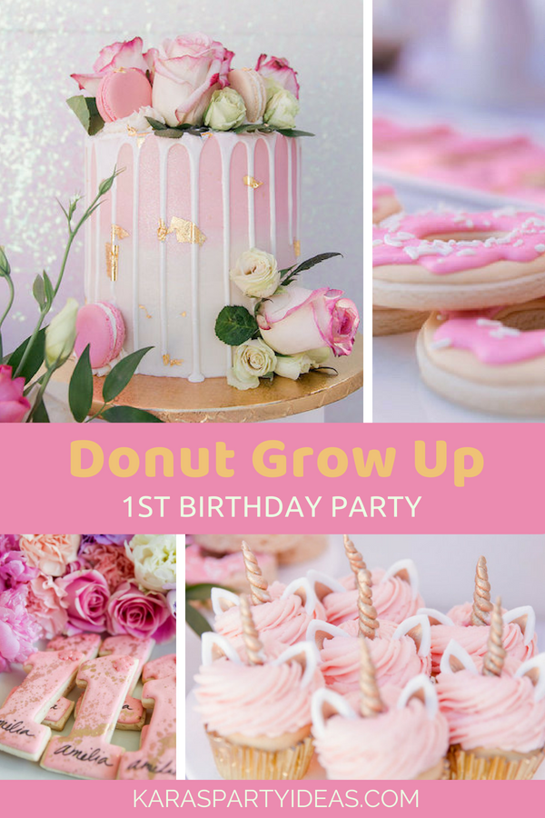 Donut Grow Up 1st Birthday Party via Kara's Party Ideas - KarasPartyIdeas.com