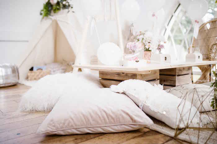 Pillow Seating from a Dreamy Bohemian Party for Kids on Kara's Party Ideas | KarasPartyIdeas.com (19)