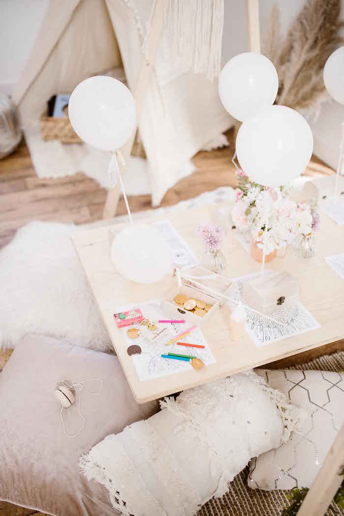 Kid Coloring Table from a Dreamy Bohemian Party for Kids on Kara's Party Ideas | KarasPartyIdeas.com (17)