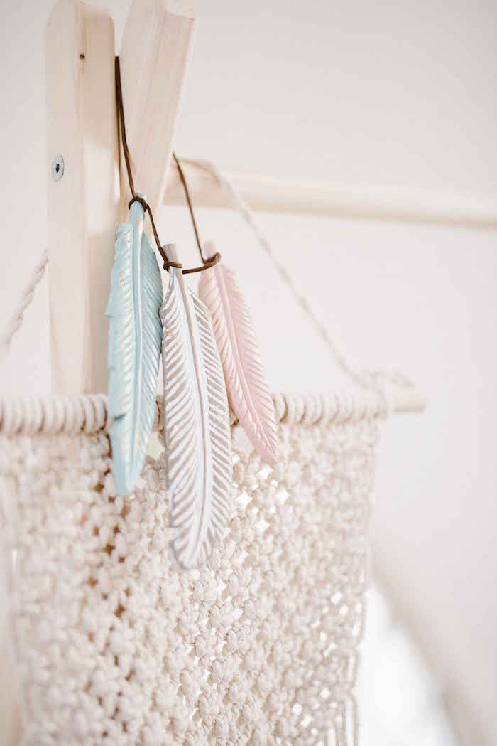 Feather Bunting from a Dreamy Bohemian Party for Kids on Kara's Party Ideas | KarasPartyIdeas.com (16)