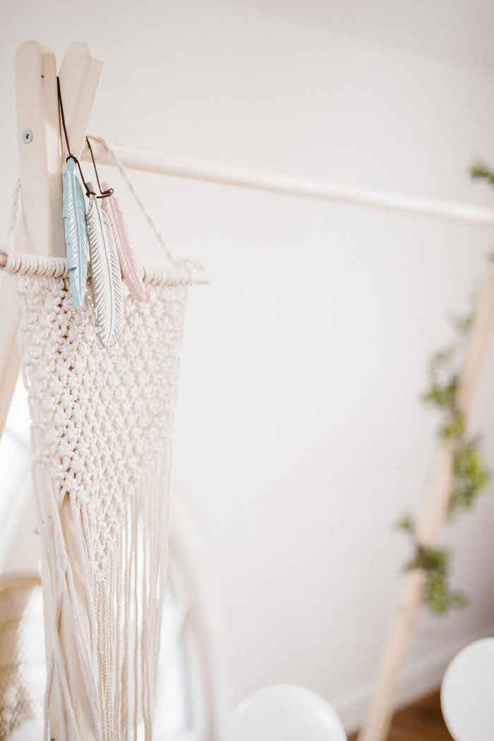 Macrame Feather Bunting from a Dreamy Bohemian Party for Kids on Kara's Party Ideas | KarasPartyIdeas.com (15)