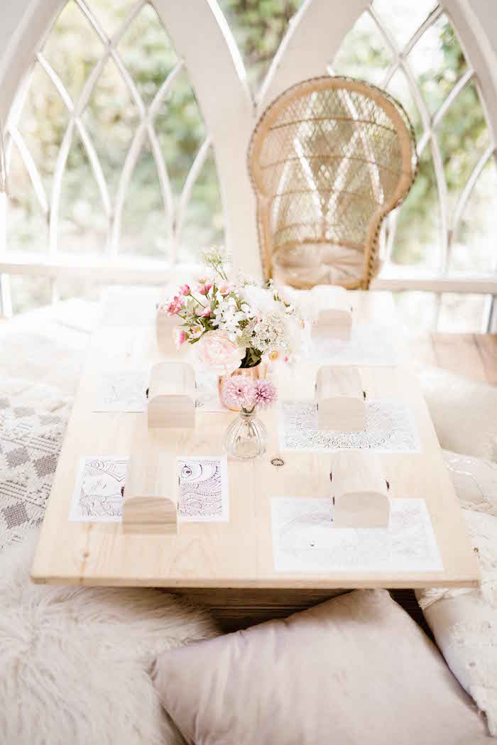 Wooden Low-seated Guest Table from a Dreamy Bohemian Party for Kids on Kara's Party Ideas | KarasPartyIdeas.com (11)