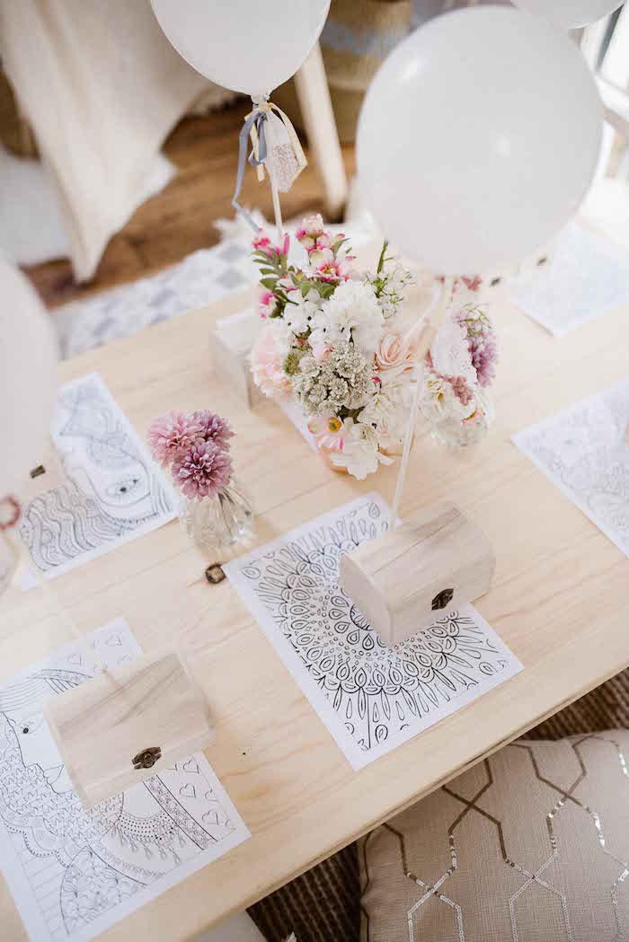Coloring Page Table Settings from a Dreamy Bohemian Party for Kids on Kara's Party Ideas | KarasPartyIdeas.com (29)