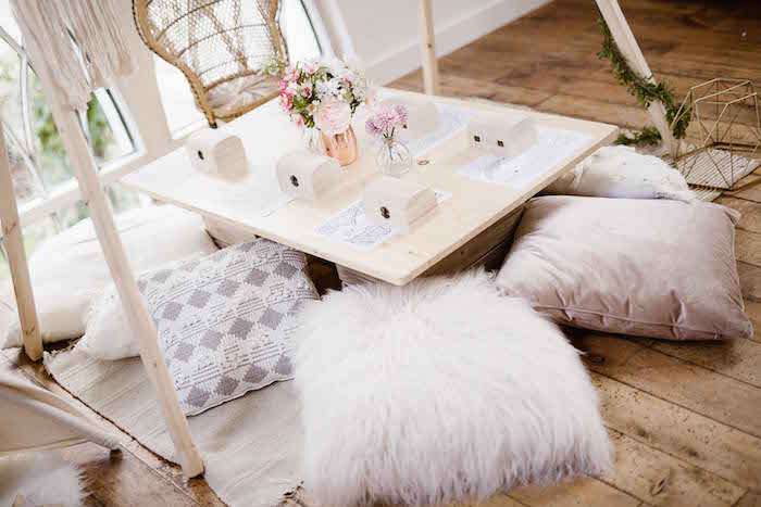 Pillow-seated Boho Kid Table from a Dreamy Bohemian Party for Kids on Kara's Party Ideas | KarasPartyIdeas.com (10)