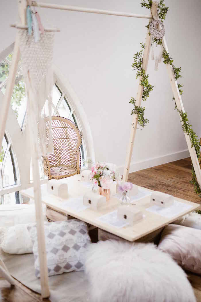 Pillow-seated Boho Kid Table from a Dreamy Bohemian Party for Kids on Kara's Party Ideas | KarasPartyIdeas.com (9)